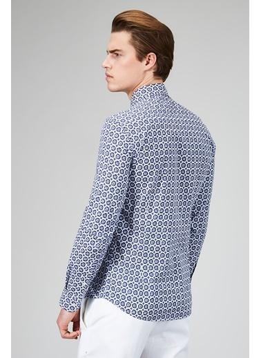 Avva Desenli Uzun Kollu Gömlek Lacivert